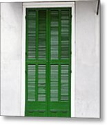 A Green Door In New Orleans Metal Print