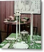 A Green Table Metal Print