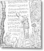 A Group Of Archaeologists Decipher A Large Metal Print
