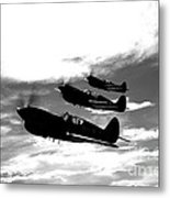 A Group Of P-40 Warhawks Fly Metal Print