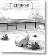 A Guy Is Driving Around A Zen Garden Making Metal Print