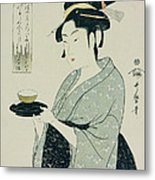 A Half Length Portrait Of Naniwaya Okita Metal Print