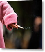 A Hand Holding A Cigarette Metal Print