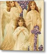 A Happy Easter 1908 German Postcard Metal Print