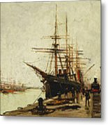 A Harbor Metal Print by Eugene Galien-Laloue