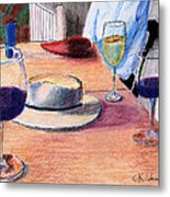 A Hat And Wine Metal Print
