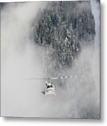 A Heli-ski Helicopter Flies Metal Print