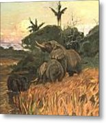 A Herd Of Elephants By Moonlight Metal Print