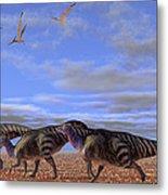 A Herd Of Parasaurolophus Dinosaurs Metal Print