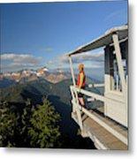 A Hiker Enjoys The View Metal Print