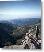 A Hiker Looks At The View Metal Print