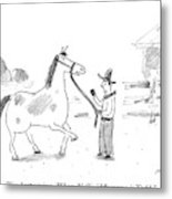 A Horse Speaks To A Cowboy Trying To Calm Metal Print