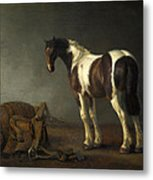 A Horse With A Saddle Beside It Metal Print