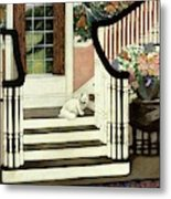 A House And Garden Cover Of A Cat On A Staircase Metal Print