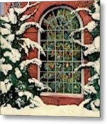 A House And Garden Cover Of A Christmas Tree Metal Print
