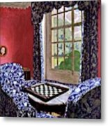 A House And Garden Cover Of A Country Living Room Metal Print