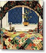 A House And Garden Cover Of A Four-poster Bed Metal Print