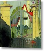 A House And Garden Cover Of A Gate Metal Print