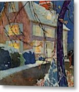 A House And Garden Cover Of A House In Winter Metal Print
