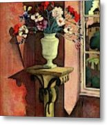 A House And Garden Cover Of A Vase Of Flowers Metal Print