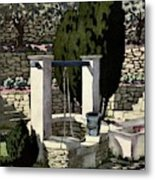 A House And Garden Cover Of A Well Metal Print