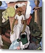 A House And Garden Cover Of A Woman Watering Metal Print