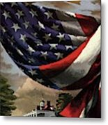 A House And Garden Cover Of An American Flag Metal Print