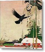 A House And Garden Cover Of Crows By A House Metal Print