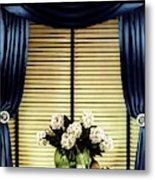 A House And Garden Cover Of Flowers By A Window Metal Print