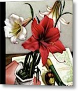 A House And Garden Cover Of Lilies Metal Print