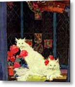A House And Garden Cover Of White Cats Metal Print