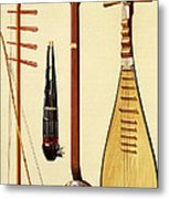 A Huqin And Bow, A Sheng, A Sanxian Metal Print