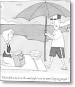 A Husband Returns To His Wife At The Beach Having Metal Print