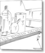 A Jar On A Supermarket Conveyor Belt Is Sticking Metal Print