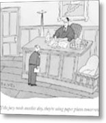 A Judge Washes Dishes In A Sink At His Desk Metal Print