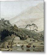 A Kaffir Village, C.1801 Wc & Graphite On Paper Metal Print