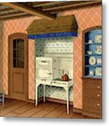 A Kitchen With An Old Fashioned Oven And Stovetop Metal Print
