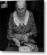 A Lacemaker In Bruges Metal Print