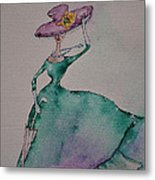 A Lady On A Windy Day Metal Print