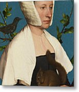 A Lady With A Squirrel And A Starling Metal Print