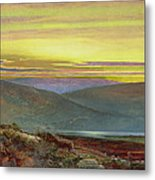 A Lake Landscape At Sunset Metal Print