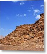 A Landscape Of Rocky Outcrops In The Desert Of Wadi Rum Jordan Metal Print