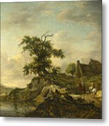 A Landscape With A Farm On The Bank Of A River Metal Print