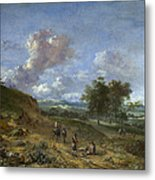 A Landscape With A High Dune And Peasants On A Road Metal Print