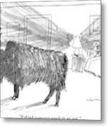 A Large Buffalo Stands Near The Door Metal Print