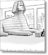 A Large Sphinx Sits In Front Of A Desk Metal Print