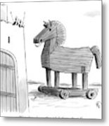 A Large Wooden Horse Metal Print