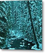 A Leaning Tree Over The Little Naches River Metal Print