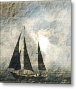 A Light Through The Storm - Sailing Metal Print