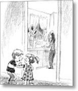 A Little Boy Speaks To A Little Girl Metal Print